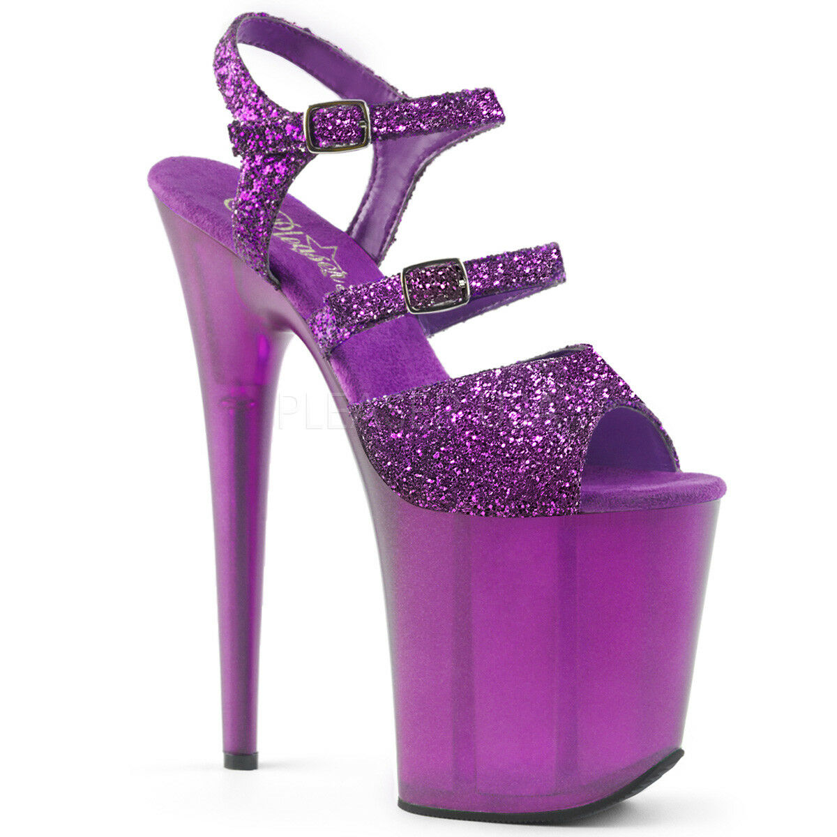Pleaser FLAMINGO-874 Women's Purple Glitter Glitter Glitter Frosted Platform Ankle Strap Sandals 7c5cbe