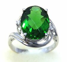 #R1081 4.3ct  Forest Green Helenite Oval Sterling Silver Swirl Ring