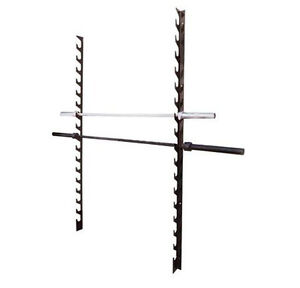10 Row Barbell Wall Mount Rack Storage Holder Stand Gym