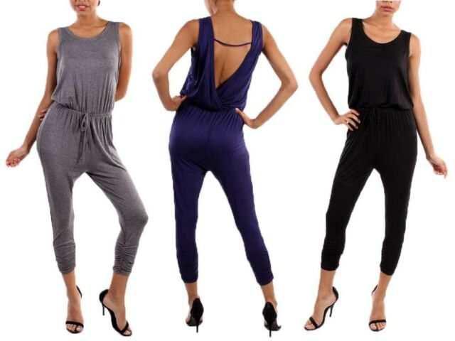 Sexy Sleeveless Ruched Hem Open Back Detail Romper Capri Length Bodyfit Jumpsuit
