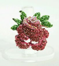 """1.75"""" Pink Crystal ROSE FLOWER Silver Plated Stretch Band Cocktail Ring Gift"""