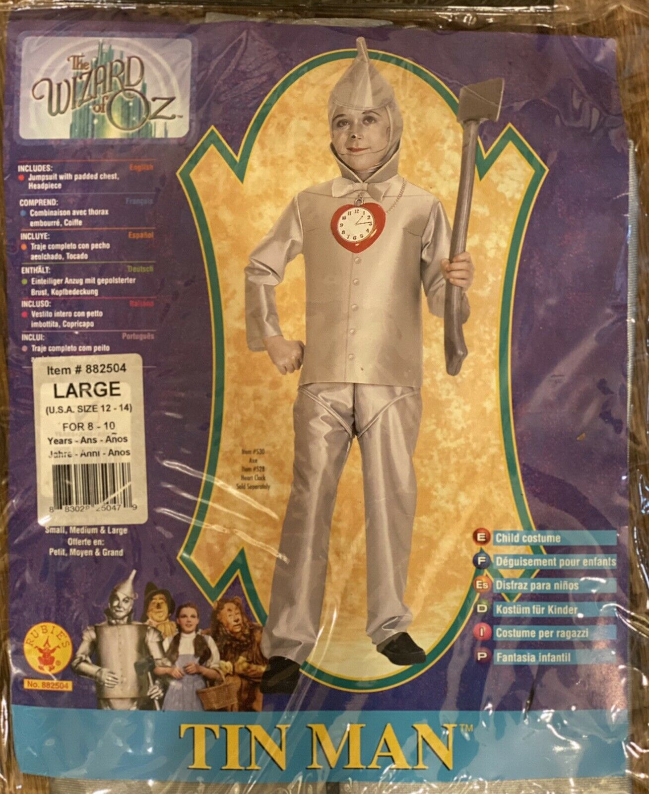 Children's Costume The Wizard Of Oz Tin Man Size Large 12-14 (8-10 Years) NEW