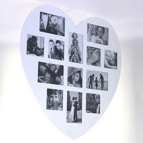 photo frame wooden White Shape Heart 60 x 60 cm Jumble 13 photos