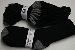 5-Pair-039-s-Men-039-s-Women-039-s-10-13-Long-Crew-Socks-Cotton-TERRY-TOP-BLACK-GRAY-HEEL-TO