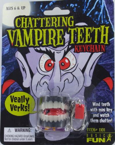 VAMPIRE CHATTERING TEETH Keychain Keyring Dracula Dentist Gag Oral Mouth NEW