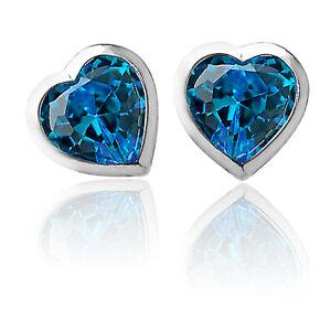 a5c3d5320 3mm - 6mm HEART BLUE TOPAZ SCREW BACK EARRINGS 14K WHITE GOLD BABY ...