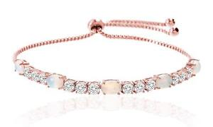 Created-Opal-White-Sapphire-Lasso-Bracelet-18K-Rose-Gold-Plated-Silver