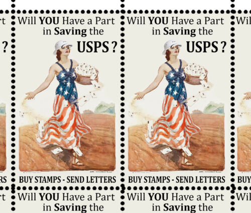 Artistamps SAVE The Postal Service #1 Faux Postage, Cinderellas , Mail-Art