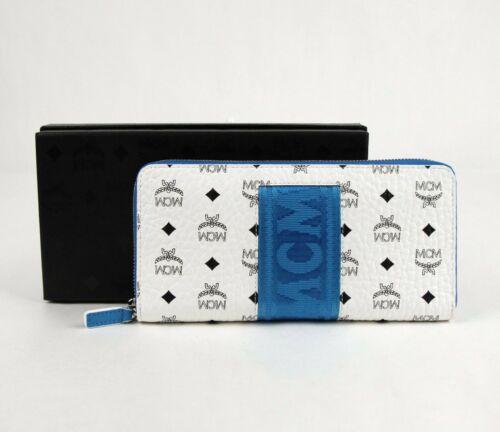 $395 MCM White//Blue Coated Canvas Continental Zip-around Wallet MXL9SVI89WT001