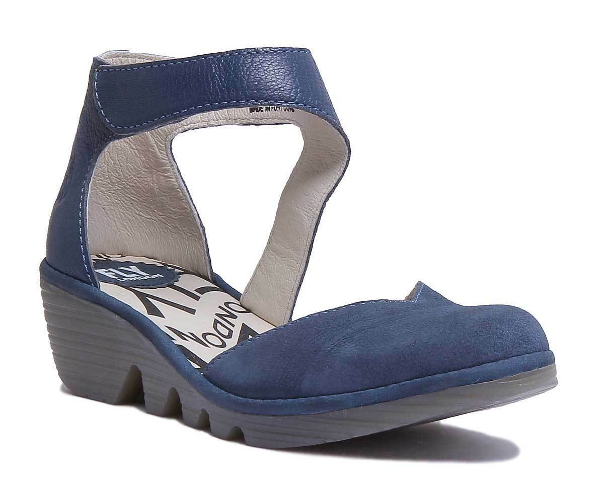 Fly London Pats801 Women Leather Matt Blue Ankle Strap Wedge Sandals Size 3 - 8