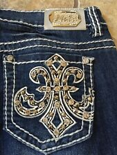 Miss Chic Capri Jeans Sexy Bling Stud Jewel Pocket Fashion M318 Size 5 EUC