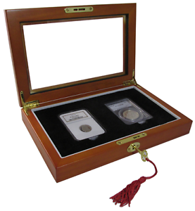 Wood Presentation Box For 2 Certified Coins PCGS NGC ICG Case w// Window Quality