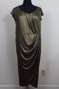Torrid-2X-18-20-Metallic-Gold-Ruched-Evening-Cocktail-Maxi-Dress-Womens