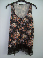 Top Ladies Vest Top Black With Multi Coloured Floral Print Atmosphere Size 10
