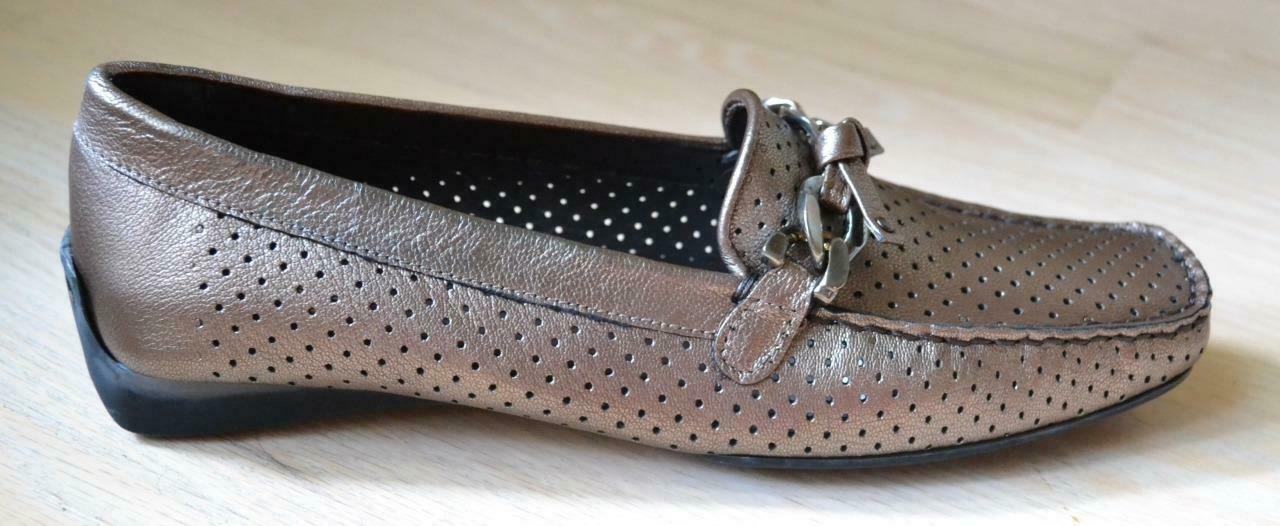 Stuart weitzman lincoln bronze metallic leather loafers Talla 7,5 n