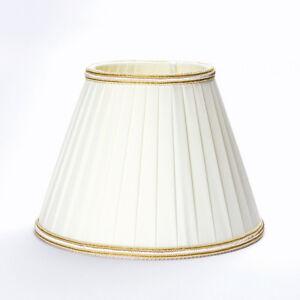 Details zu E14 Stoff Schirm creme beige D: 185mm LAMPENSCHIRM Kronleuchter  creme Borte gold