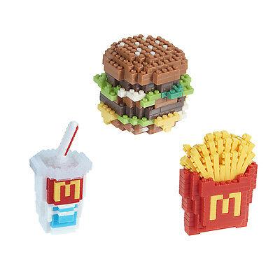 Kawada nanoblock x McDonald Food Icons micro Building Blocks 3pcs Set JP Limited