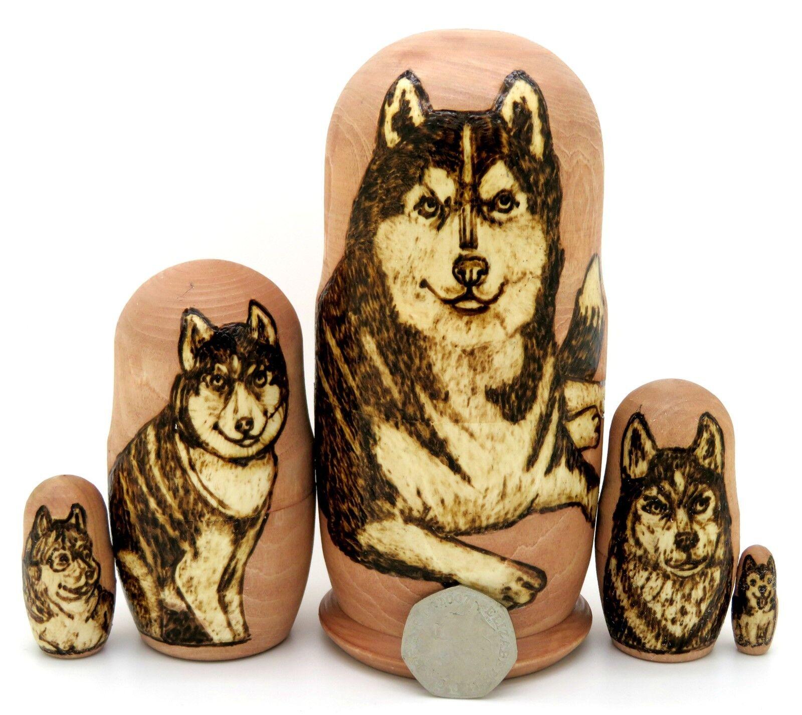 Husky Hund Matroschka Puppen Russisch Babuschka 5 Matt Brandmalerei Geschenk