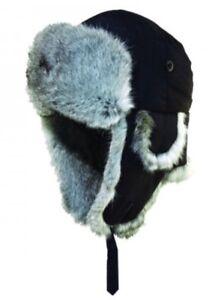 Woolrich Faux Fur Aviator Trapper Hat Cap Black 100% Nylon Medium 56 ... 512b901c16d1