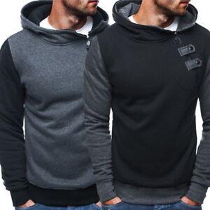 Mens-039-Sweatshirts-Hooded-Hoodies-Oblique-Slim-Fit-Zipper-Pullover-Tops
