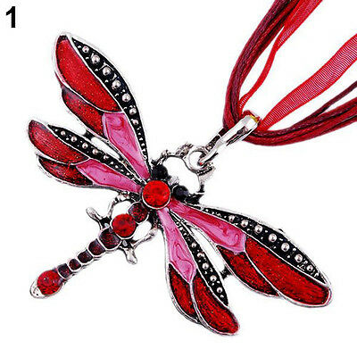Sliver Plated Dragonfly Enamel Rhinestone Dragonfly Pendant Necklace Charm