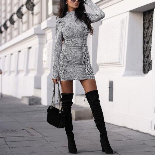 Damen Tiermuster Bleistiftkleid Langärmelig Hoher Kragen Clubwear Kurzes Kleid
