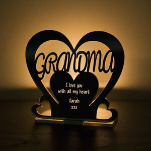 Personalised-Tea-Light-Heart-Candle-Holder-GRANDMA-Birthday-Mother-039-s-Day-Gift