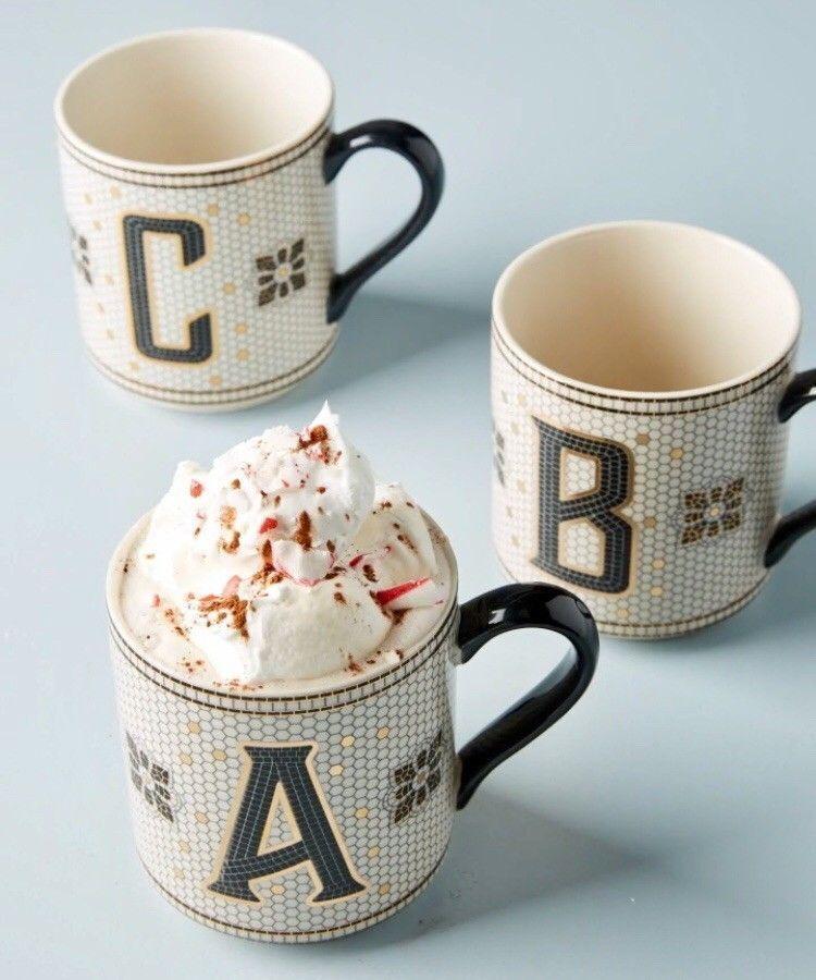 NEW ANTHROPOLOGIE TILED MARGOT MUG CUP LETTER E LATTE TEA COFFEE MONOGRAM ALPHAB