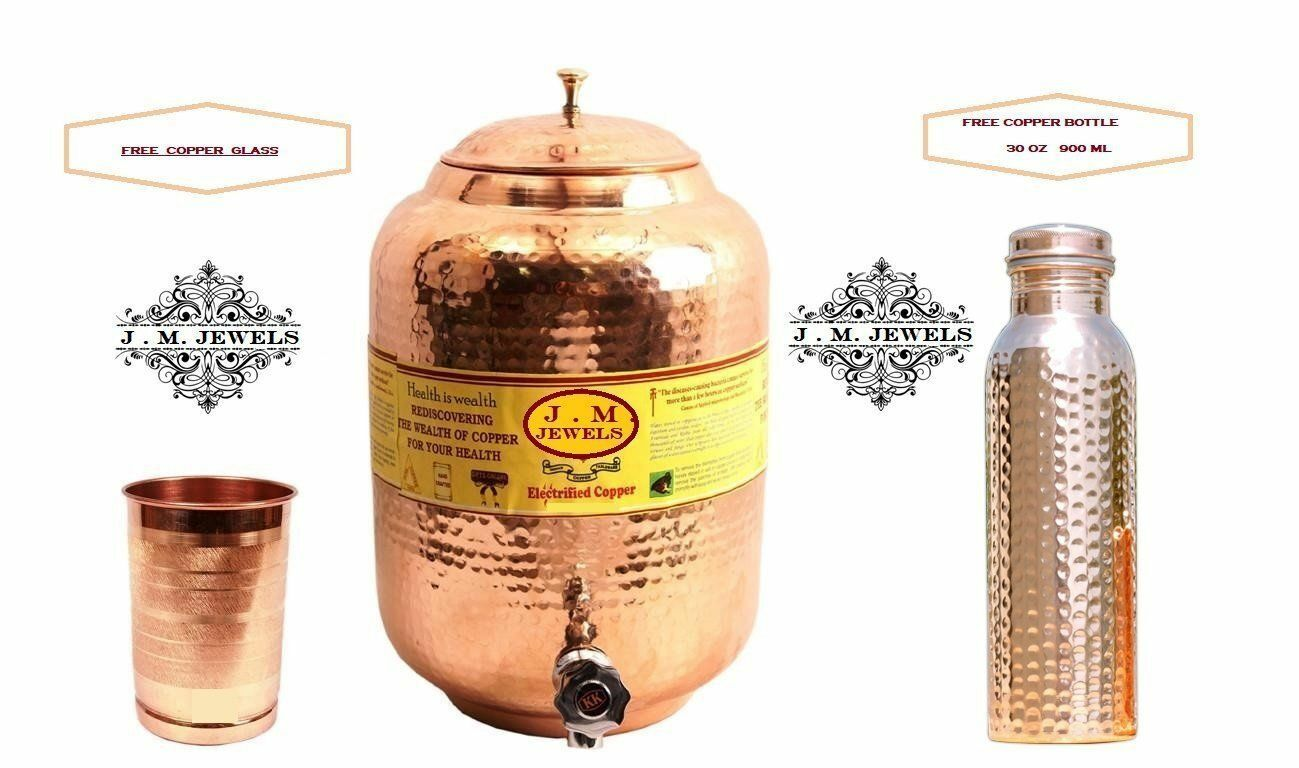 goldman  Copper Water Container Pot Tank for Home( 1 Water bottle +Glass Free)