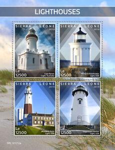 Sierra-Leone-Lighthouses-Stamps-2019-MNH-Montauk-Point-Light-Architecture-4v-M-S