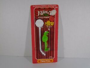 1979-FISHER-PRICE-THE-MUPPET-SHOW-KERMIT-THE-FROG-STICK-PUPPET-NEW