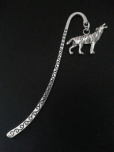 New-Antique-Silver-Metal-Bookmark-with-Howling-Wolf-Charm-Accessory-Gift