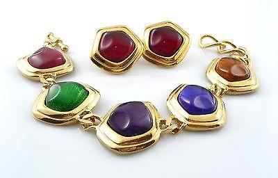 BIG Vintage 1980s Modern Goldtone & Multicolor Glass BRACELET & EARRINGS Set