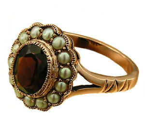 Genuine-9K-Gold-Natural-Garnet-amp-Pearl-Oval-Cluster-Ring-Victorian-style-yr-size