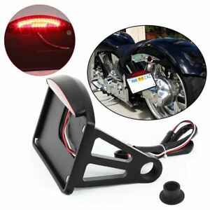 Side-Mount-License-Plate-Frame-LED-Tail-Brake-Light-For-Harley-Motorcycle-Bike