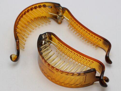 6 Café Plastique Banane Clips Pince à Cheveux Queue de Cheval Titulaire 75X23mm pour À faire soi-même Craft