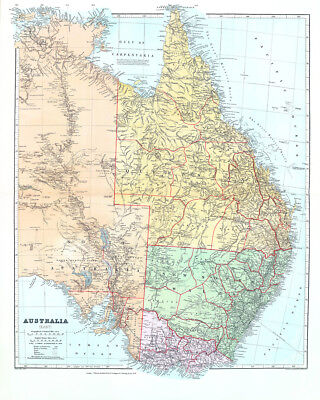 Map Of Australia 1901.Australia East 1901 Map 75cm X 60cm High Quality Art Print Ebay