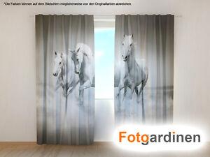 Vorhang Fotodruck fotogardinen weiße pferde vorhang 3d fotodruck foto vorhang