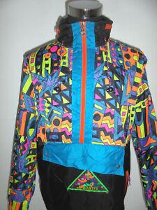 vintage-80-s-JEANTEX-Nylon-Jacke-Regenjacke-90er-new-wave-neon-oldschool-52-L