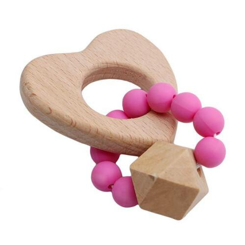 Baby boy teether Teething toy Wooden and silicone teething ring Chewing beads D