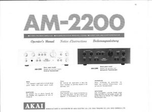 akai am 2200 amplifier owners instruction manual ebay rh ebay com akai 4000ds instruction manual akai headrush instruction manual