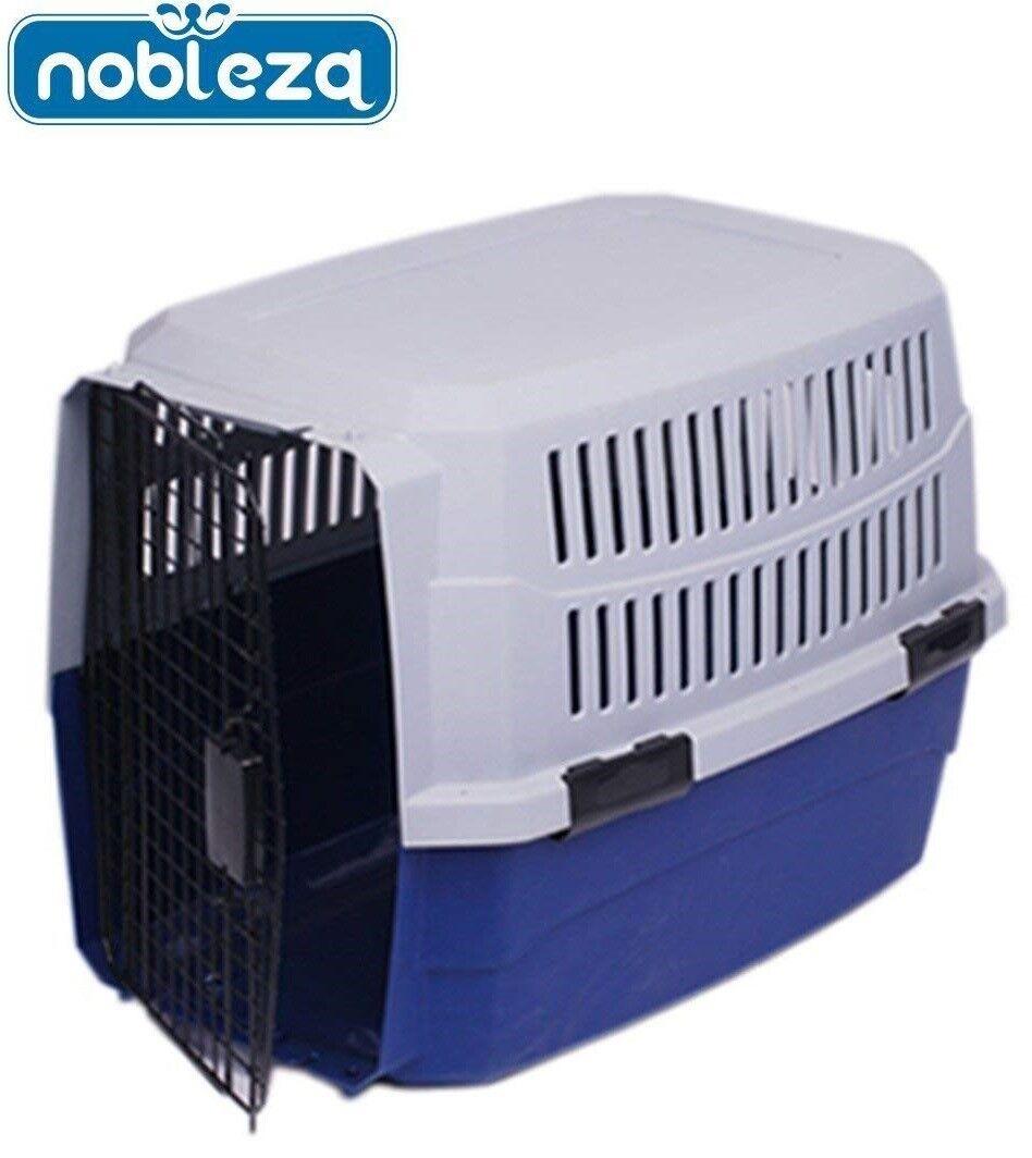 Transportin para peros gatos mascotas NOBLEZA 68x49x37cm rigida puerta metalica