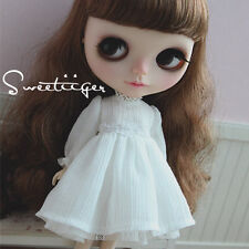 """【Tii】white dress outfit 12"""" 1/6 doll Blythe/Pullip/azone Clothes Handmade girl"""