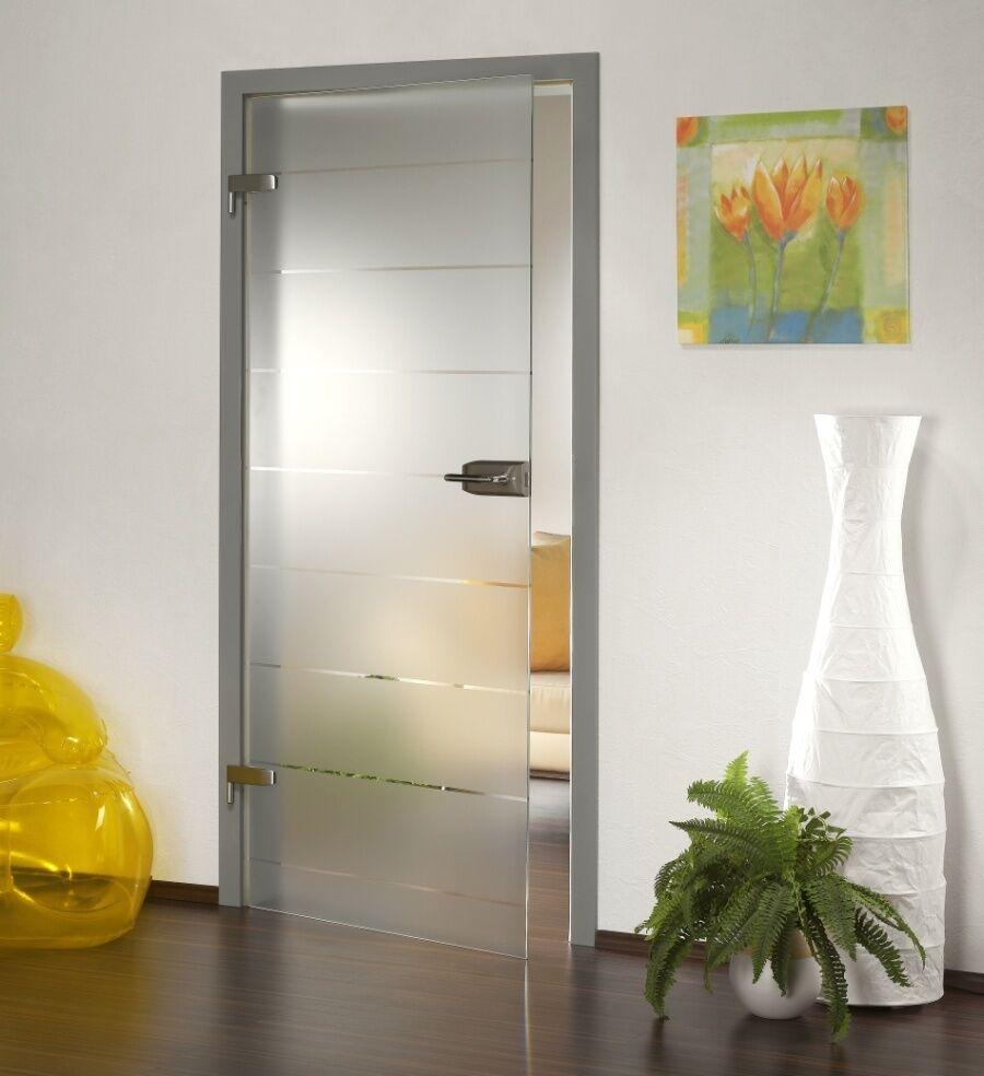 Glastür Ganzglastür GDS240-F Streifen Design auf Klarglas viele Größen