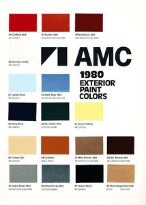 1980-AMC-Factory-Paint-Chip-Original-Brochure-Card-Eagle-Pacer-AMX-Spirit