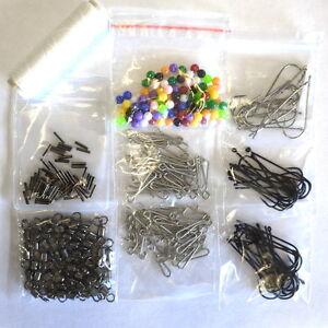 Sea-Fishing-Tackle-Kit-50-Rigs-fishing-swivels-beads-hooks-clips-Bait-elastic
