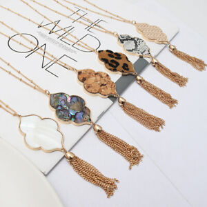 Abalone-Shell-Quatrefoil-Moroccan-Pendant-Long-Necklace-with-bMetal-Tassel