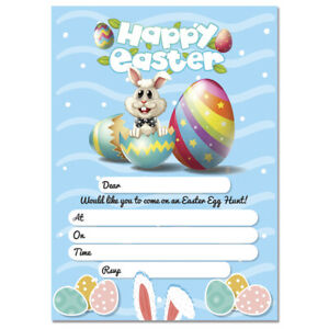 Image is loading 20-x-Easter-Egg-Hunt-Party-Invitations-Happy-