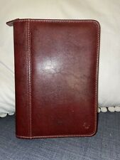 Franklin Covey Easy Plan 7 Ring Bound Binder Planner Red Faux Leather With Zipper