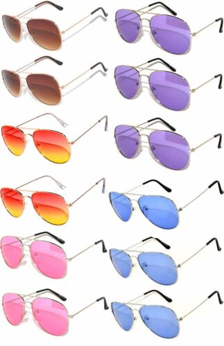WHOLESALE 12 AVIATOR STYLE COLORED LENS METAL SUNGLASSES RED PURPLE BLUE YE GREE